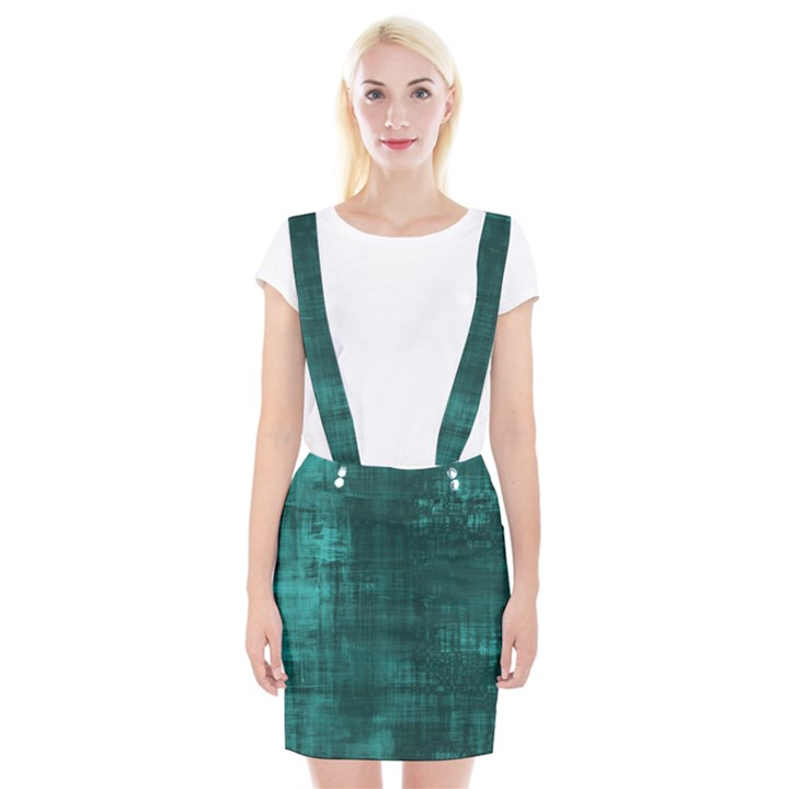 Turquoise Green Grunge Braces Suspender Skirt