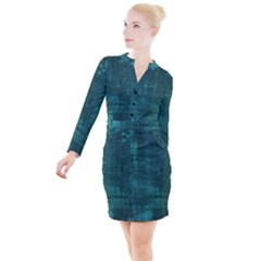 Turquoise Green Grunge Button Long Sleeve Dress by retrotoomoderndesigns