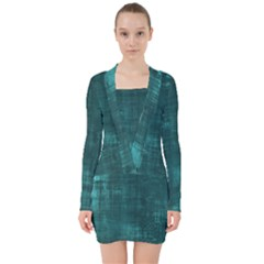 Turquoise Green Grunge V Neck Bodycon Long Sleeve Dress