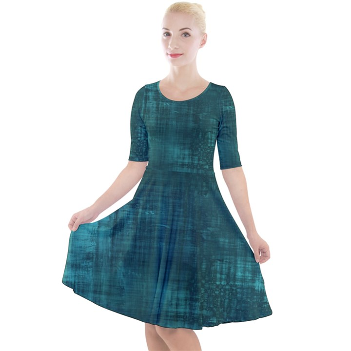Turquoise Green Grunge Quarter Sleeve A-Line Dress