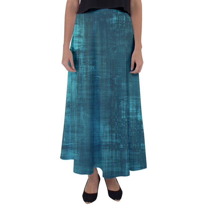 Turquoise Green Grunge Flared Maxi Skirt