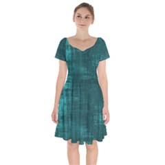 Turquoise Green Grunge Short Sleeve Bardot Dress by retrotoomoderndesigns