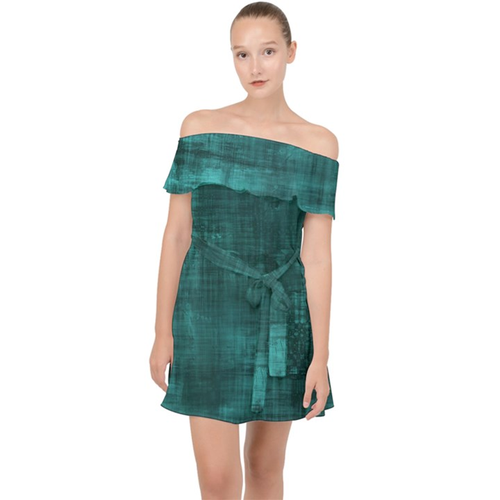 Turquoise Green Grunge Off Shoulder Chiffon Dress