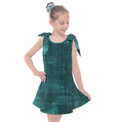 Turquoise Green Grunge Kids  Tie Up Tunic Dress