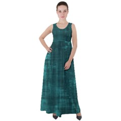 Turquoise Green Grunge Empire Waist Velour Maxi Dress by retrotoomoderndesigns