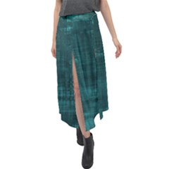 Turquoise Green Grunge Velour Split Maxi Skirt by retrotoomoderndesigns