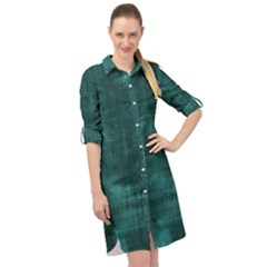 Turquoise Green Grunge Long Sleeve Mini Shirt Dress by retrotoomoderndesigns