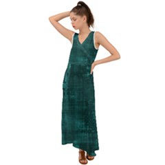 Turquoise Green Grunge V-neck Chiffon Maxi Dress by retrotoomoderndesigns