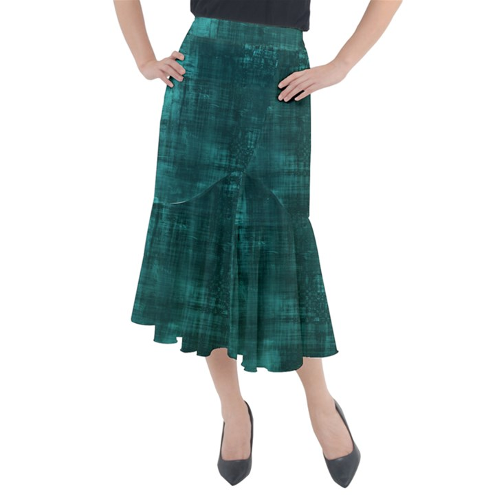 Turquoise Green Grunge Midi Mermaid Skirt