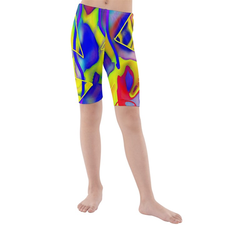 Yellow triangles abstract Kids  Mid Length Swim Shorts