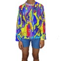 Yellow triangles abstract Kids  Long Sleeve Swimwear View1