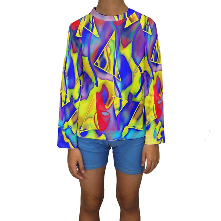 Yellow triangles abstract Kids  Long Sleeve Swimwear