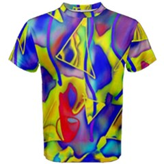 Yellow Triangles Abstract Men s Cotton Tee