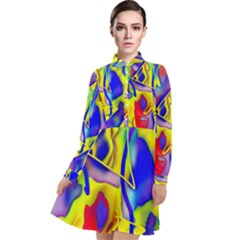Yellow Triangles Abstract Long Sleeve Chiffon Shirt Dress by bloomingvinedesign