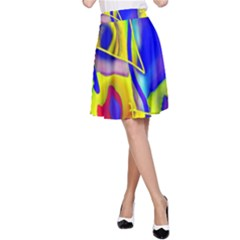 Yellow Triangles Abstract A-line Skirt by bloomingvinedesign