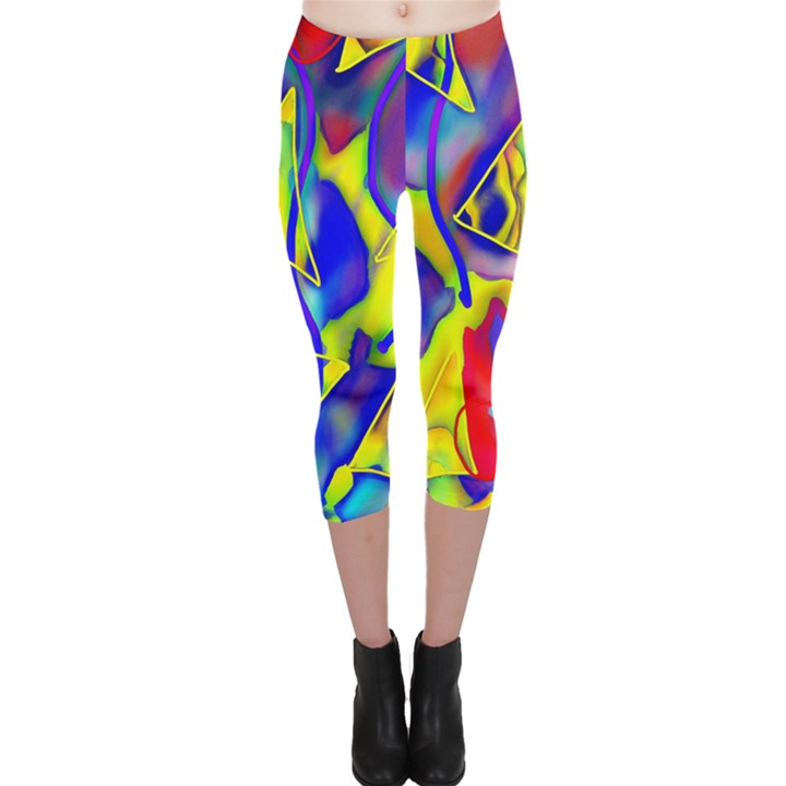 Yellow triangles abstract Capri Leggings