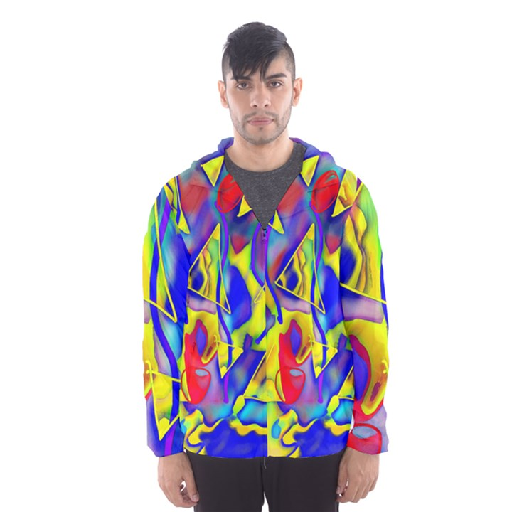 Yellow triangles abstract Men s Hooded Windbreaker