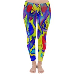 Yellow Triangles Abstract Classic Winter Leggings by bloomingvinedesign
