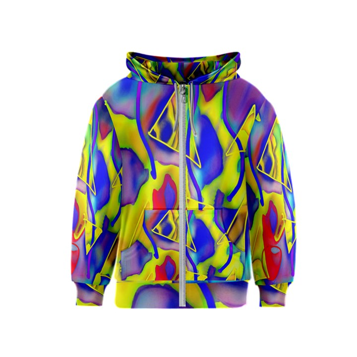 Yellow triangles abstract Kids  Zipper Hoodie