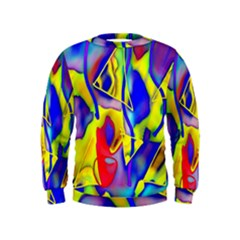 Yellow Triangles Abstract Kids  Sweatshirt by bloomingvinedesign