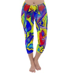 Yellow Triangles Abstract Capri Winter Leggings
