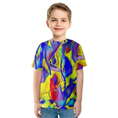 Yellow Triangles Abstract Kids  Sport Mesh Tee