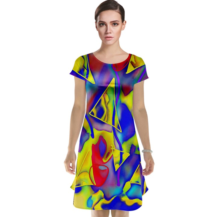 Yellow triangles abstract Cap Sleeve Nightdress