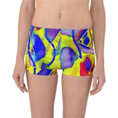 Yellow Triangles Abstract Reversible Boyleg Bikini Bottoms by bloomingvinedesign