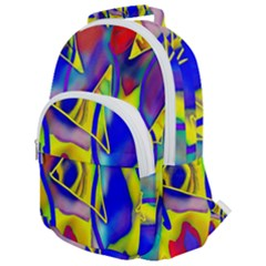 Yellow Triangles Abstract Rounded Multi Pocket Backpack by bloomingvinedesign