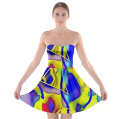 Yellow Triangles Abstract Strapless Bra Top Dress by bloomingvinedesign