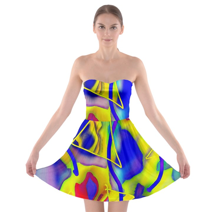 Yellow triangles abstract Strapless Bra Top Dress