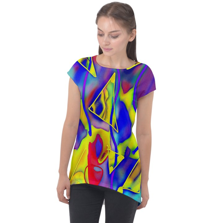 Yellow triangles abstract Cap Sleeve High Low Top