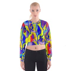 Yellow Triangles Abstract Cropped Sweatshirt by bloomingvinedesign
