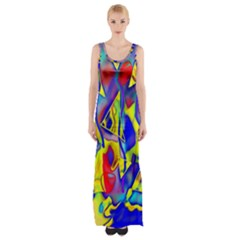 Yellow Triangles Abstract Thigh Split Maxi Dress by bloomingvinedesign