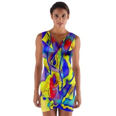 Yellow Triangles Abstract Wrap Front Bodycon Dress