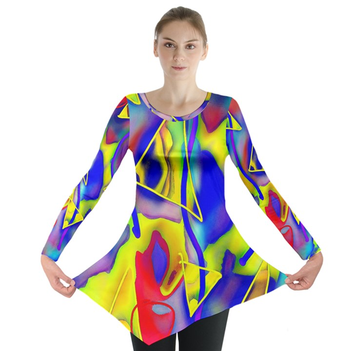 Yellow triangles abstract Long Sleeve Tunic