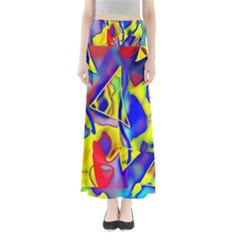 Yellow Triangles Abstract Full Length Maxi Skirt by bloomingvinedesign