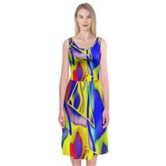 Yellow Triangles Abstract Midi Sleeveless Dress by bloomingvinedesign
