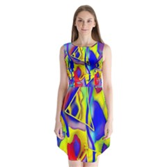 Yellow Triangles Abstract Sleeveless Chiffon Dress   by bloomingvinedesign