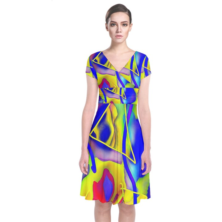 Yellow triangles abstract Short Sleeve Front Wrap Dress