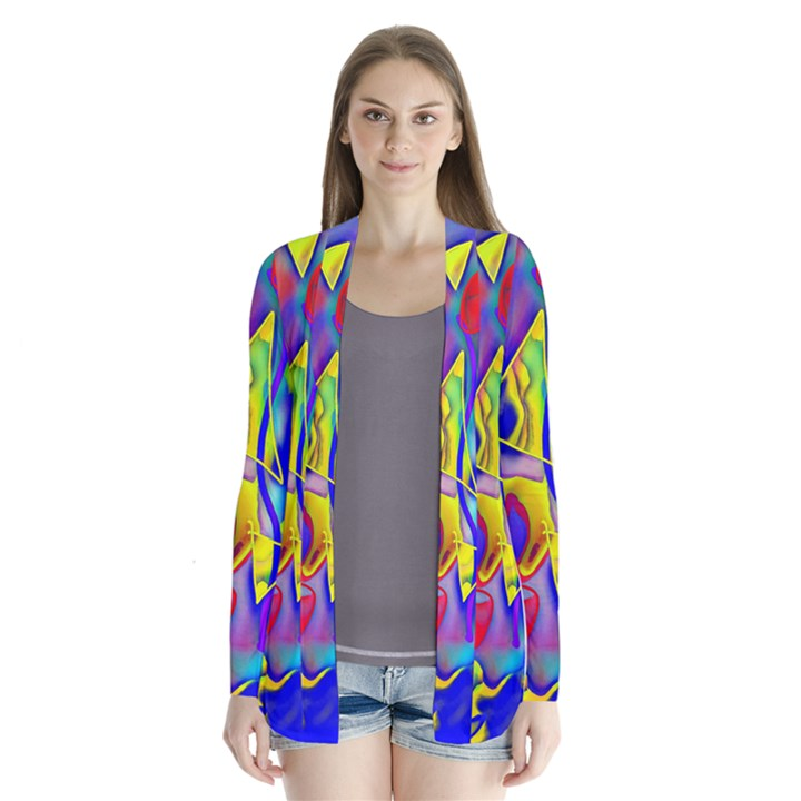 Yellow triangles abstract Drape Collar Cardigan