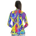 Yellow triangles abstract Drape Collar Cardigan View2