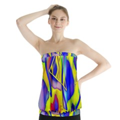 Yellow Triangles Abstract Strapless Top by bloomingvinedesign
