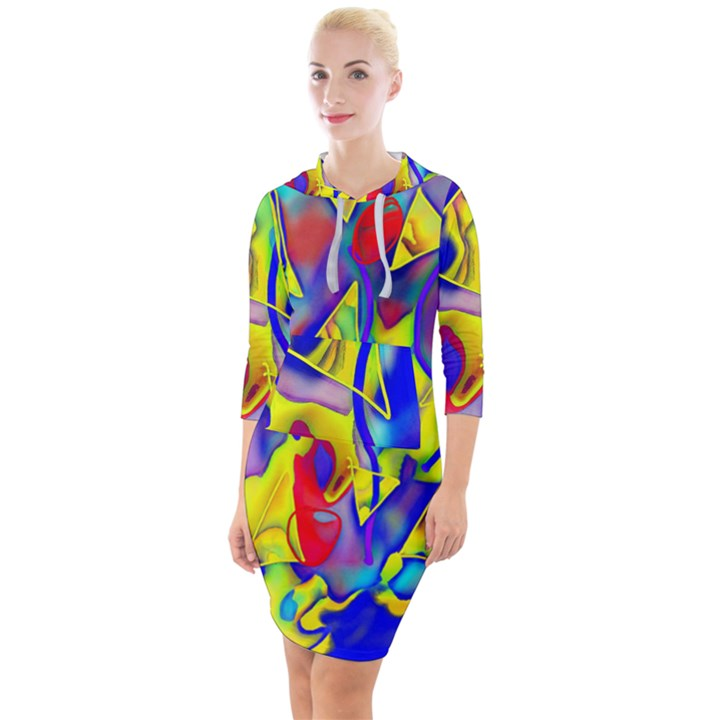 Yellow triangles abstract Quarter Sleeve Hood Bodycon Dress