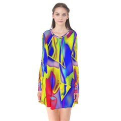 Yellow Triangles Abstract Long Sleeve V-neck Flare Dress by bloomingvinedesign