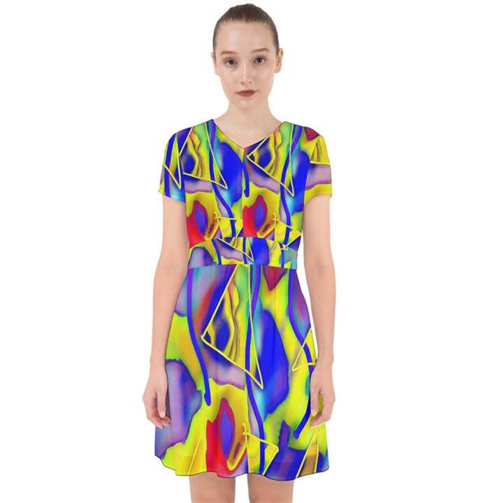 Yellow triangles abstract Adorable in Chiffon Dress