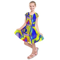 Yellow Triangles Abstract Kids  Short Sleeve Dress by bloomingvinedesign