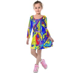 Yellow Triangles Abstract Kids  Long Sleeve Velvet Dress