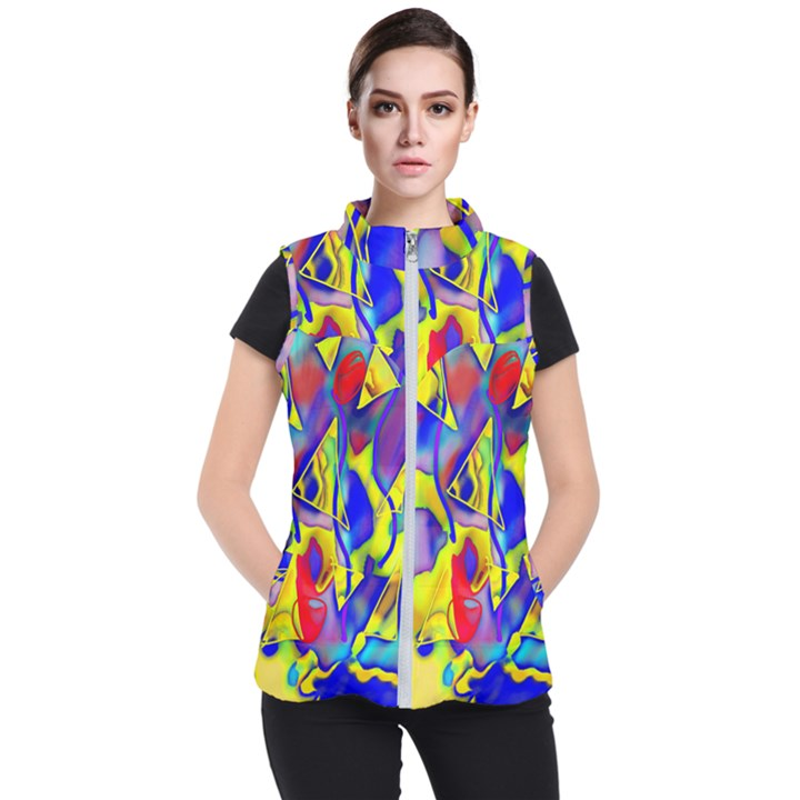 Yellow triangles abstract Women s Puffer Vest
