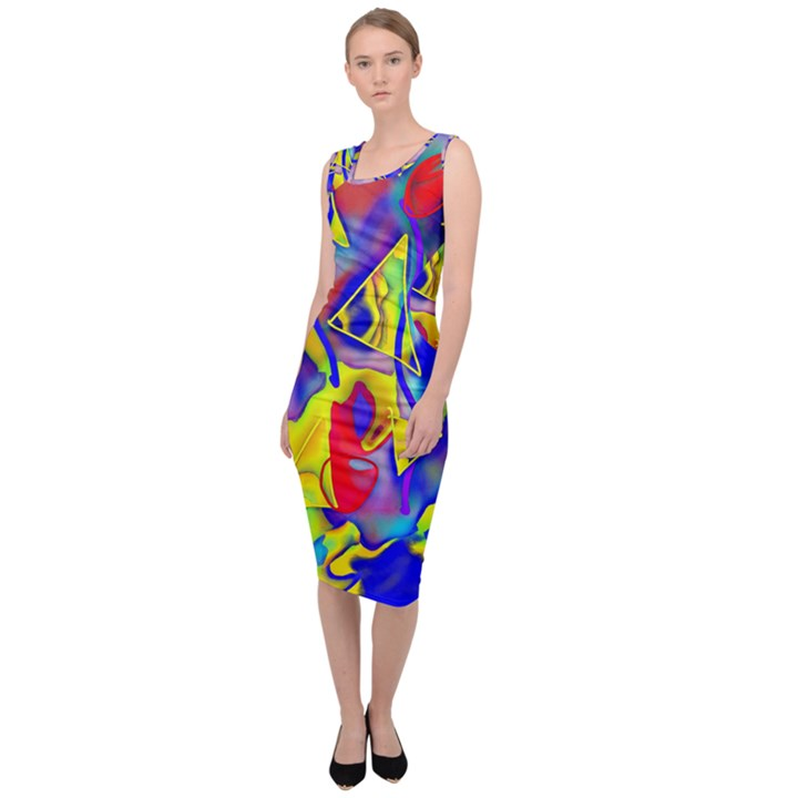 Yellow triangles abstract Sleeveless Pencil Dress